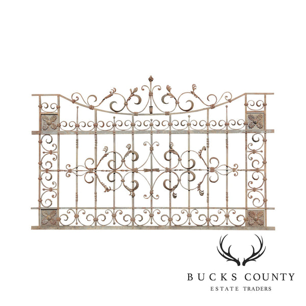 Quality Vintage Ornate Wrought Iron 8'x5' Fence/Gate Section (D)