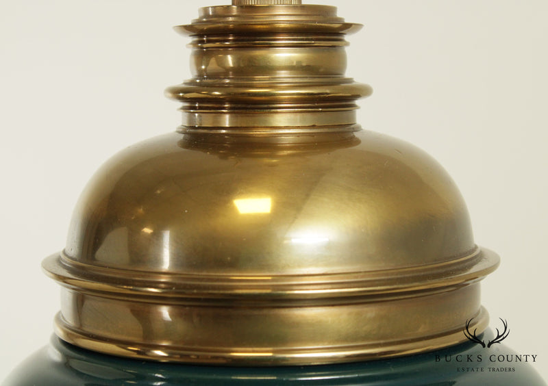 Stiffel Vintage Green Ceramic and Brass Pair Table Lamps