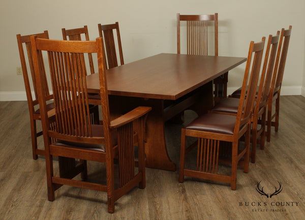 Stickley Mission Collection Oak 9 Piece Dining Set; Trestle Table, 8 Spindle Chairs