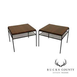 Mid Century Modern Square Walnut Wrought Iron base pair side tables