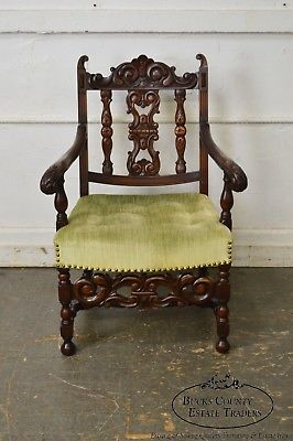 1920s Jacobean Style Solid Mahogany Carved Arm Chair (possibly Kittinger)