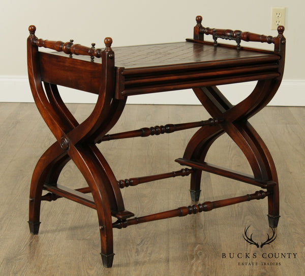 Maitland Smith Regency Style X Base Mahogany Leather Top Nesting Tray Tables