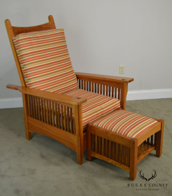 Mission Style Studio Hand Crafted Cherry & Walnut Spindled Morris Chair W/ Foot Stool