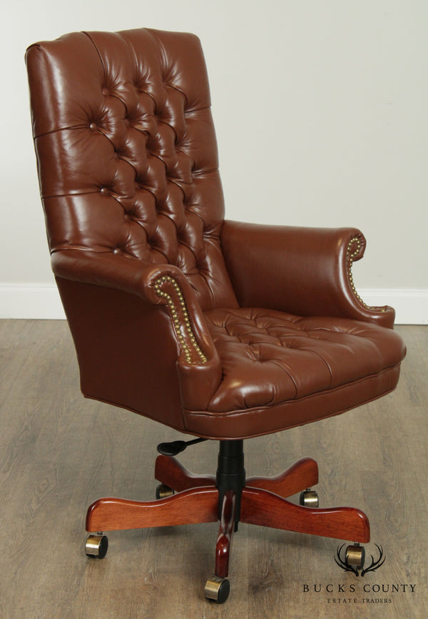 Quality Tufted Brown Leather Executive Desk Chair