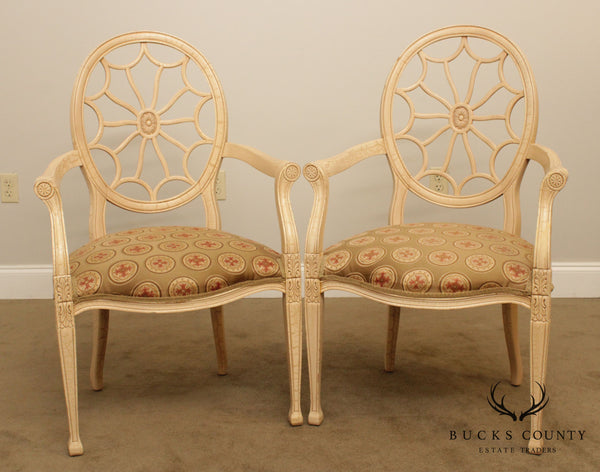 Regency Style Quality Pair Spider Back Armchairs