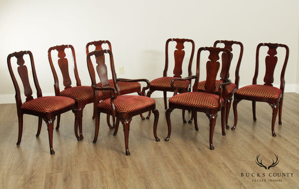 Kindel Mahogany Queen Anne Style Set 8 Dining Chairs