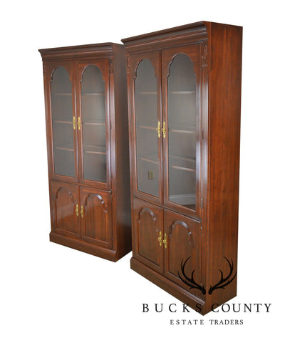 Ethan Allen Georgian Court Cherry Pair Curio Cabinet Bookcases
