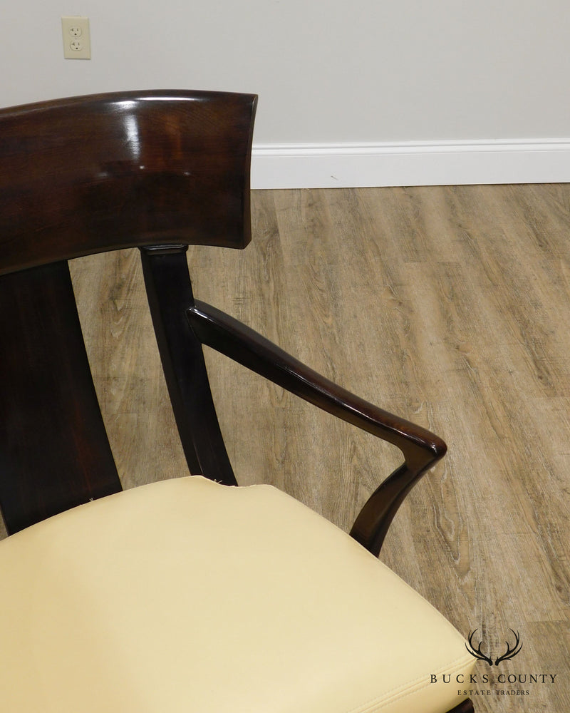 Henredon Empire Klismos Style Pair Leather Seat Armchairs
