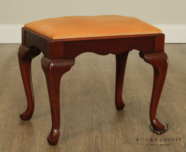 Hickory Chair Co. Vintage Mahogany Queen Anne Stool or Vanity Bench