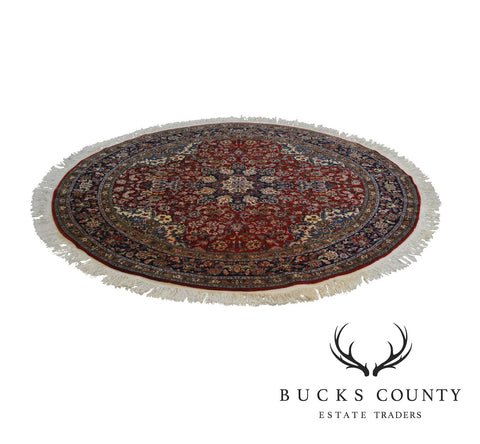 "Hand Tied Red & Blue 60"" Round Area Rug"