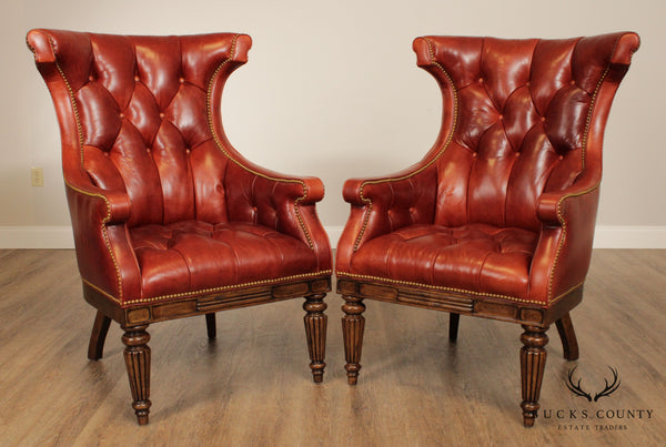 Hancock & Moore English Regency Tufted Leather Pair Wing Back Chairs
