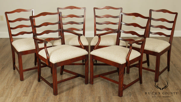 Chippendale Style Vintage Solid Mahogany Set 6 Ladder Back Dining Chairs