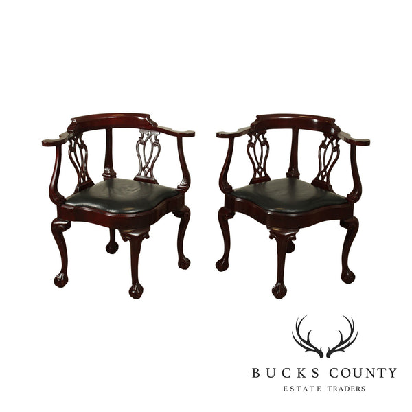 Hancock & Moore Chippendale Style Pair Mahogany Ball & Claw Corner Chairs
