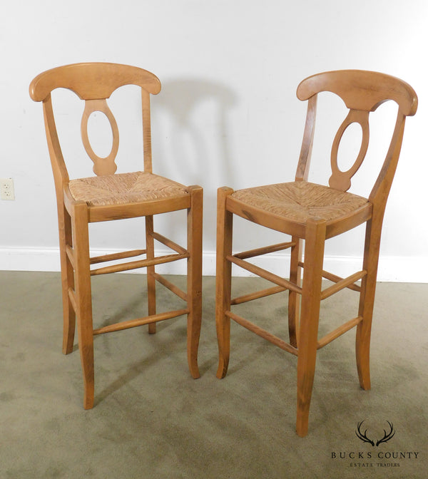 French Country Style Rush Seat Pair Barstools