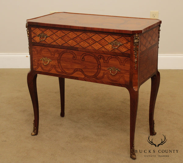 French Louis XV Style Vintage Marquetry Inlaid 2 Drawer Nightstand, Side Chest