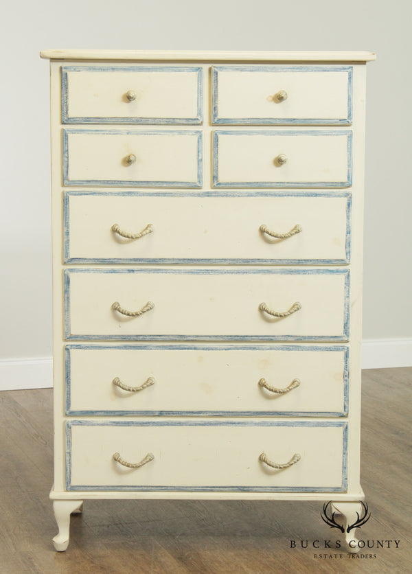 Custom White & Blue Painted Beach House High Chest