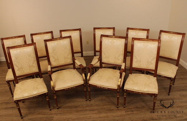 Custom Quality, Louis XVI Style Set 10 Partial Gilt Dining Chairs