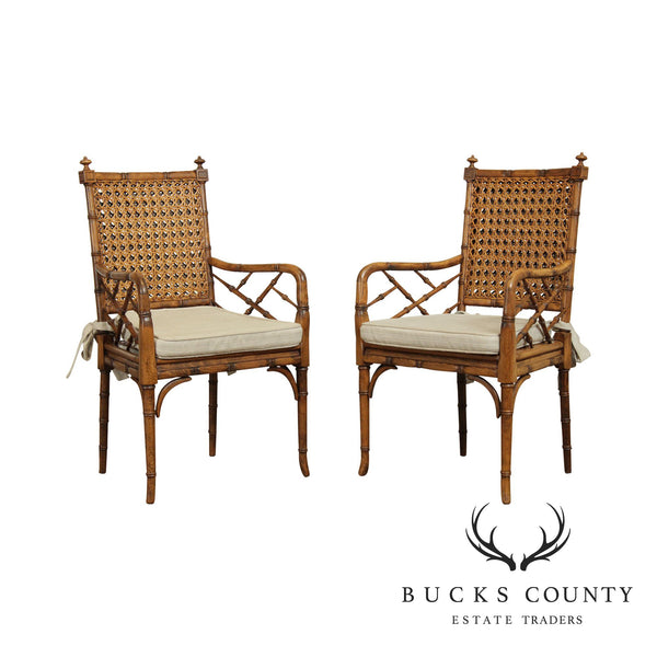 Faux Bamboo Vintage Pair Caned Armchairs