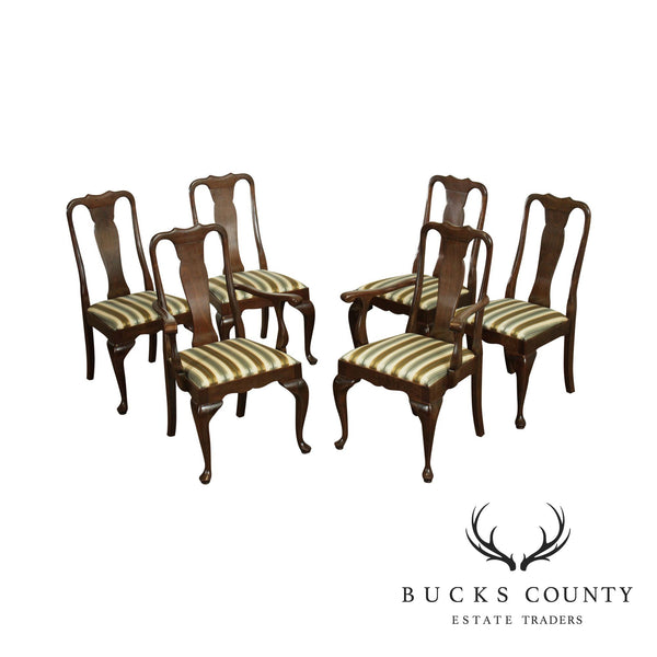 Stickley Set 6 Solid Cherry Traditional Queen Anne Style Dining Chairs