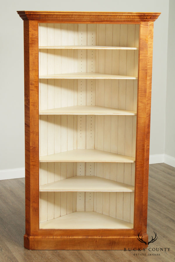 Tiger Maple Hand Crafted Open Corner Cabinet Bookcase