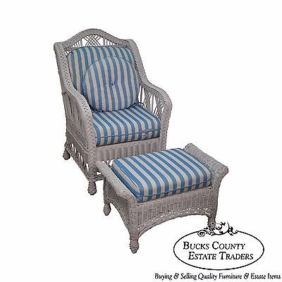 Quality Victorian Style White Wicker Lounge Chair w/ Ottoman
