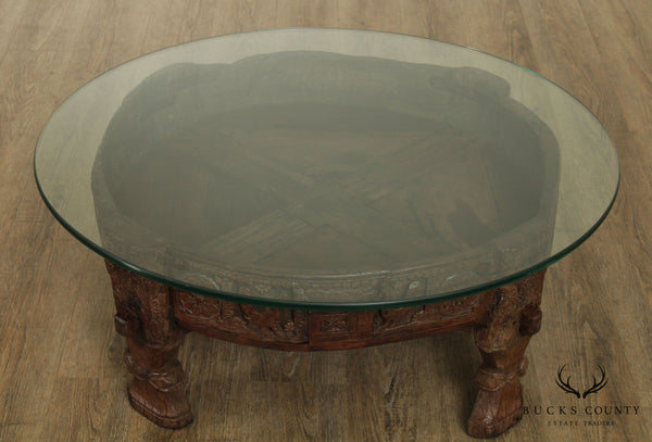 Antique Indian Hardwood Carved Round Glass Coffee Table