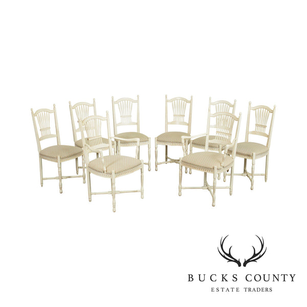 French Country Style Quality Set 8 Wheat Back Dining Chairs