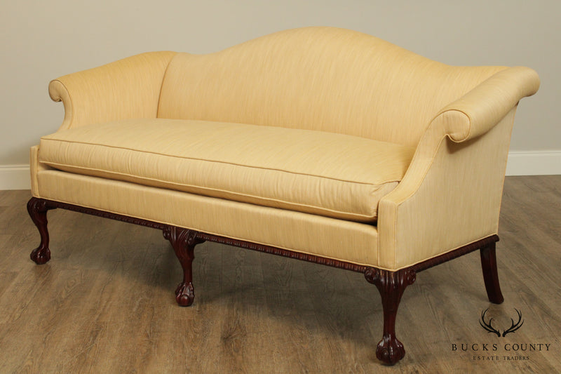 Hickory Chair Chippendale Style Mahogany Ball and Claw Camelback Sofa