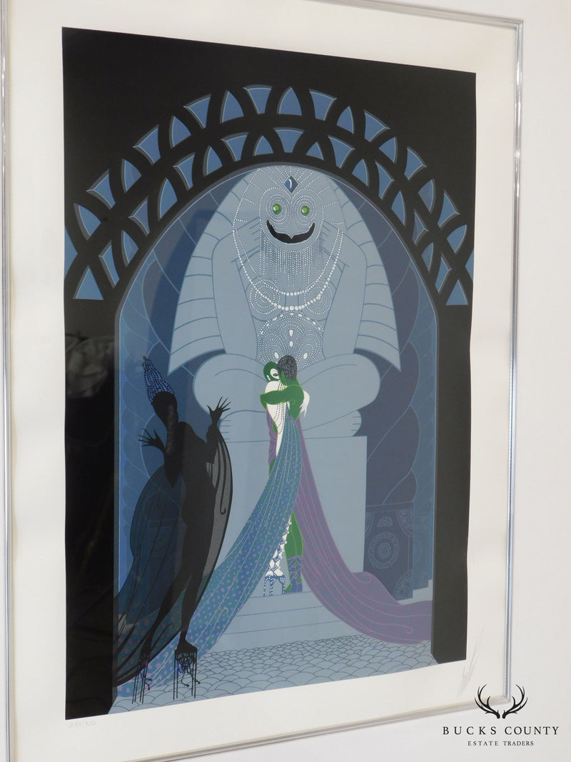 "Erté ""Lovers and Idol"" Signed Framed Serigraph"