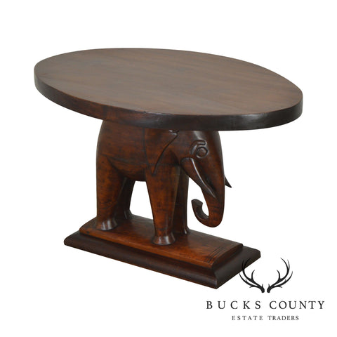 Hand Carved Mahogany Elephant Side Table