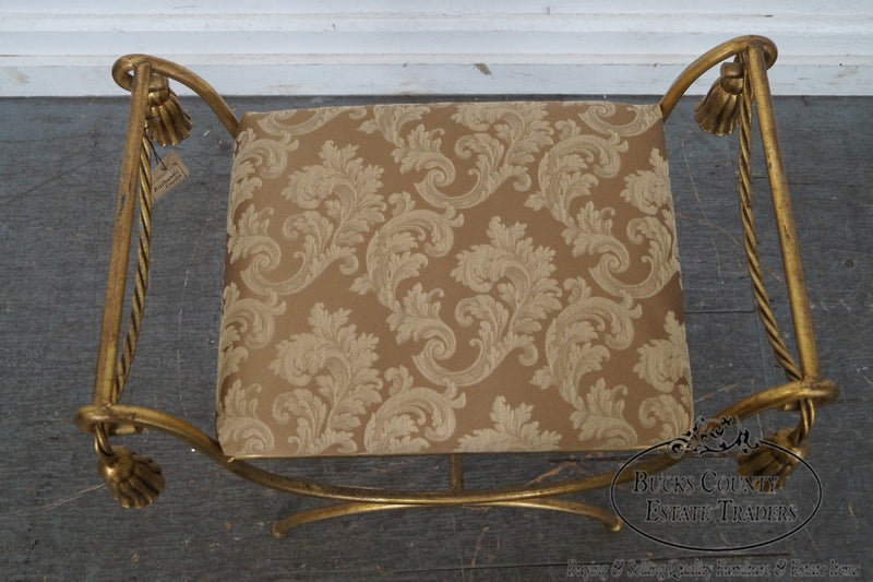 Italian Gilt Metal Rope and Tassel Curule Bench