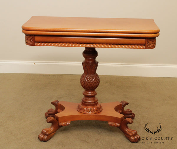 Empire Style Vintage Hand Crafted Mahogany Claw Foot Game Table