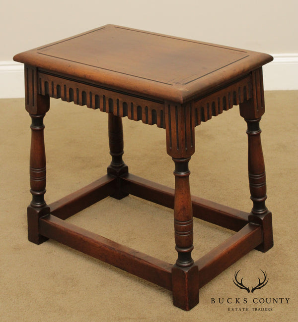 Jacobean Revival Vintage 1920's Walnut Joint Stool