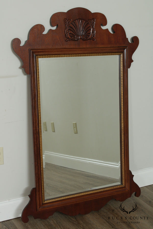 Chippendale Style Walnut Frame Beveled Wall Mirror