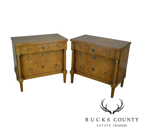 Baker French Empire Style Pair Walnut Chest of Drawers