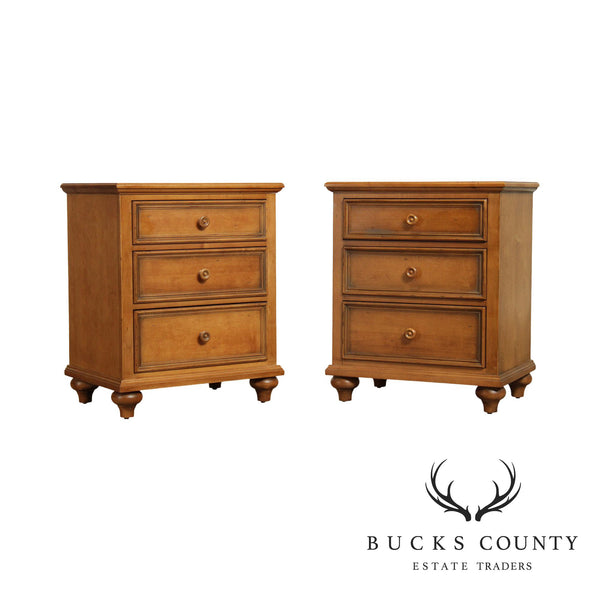 "Ethan Allen ""New Country"" Collection Pair 3 Drawer Chest Nightstands"