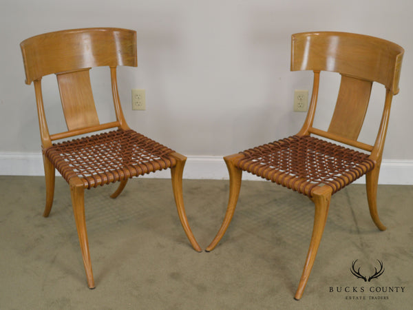 T. H. Robsjohn Gibbings Saridis of Athens Walnut & Leather Pair Klismos Chairs
