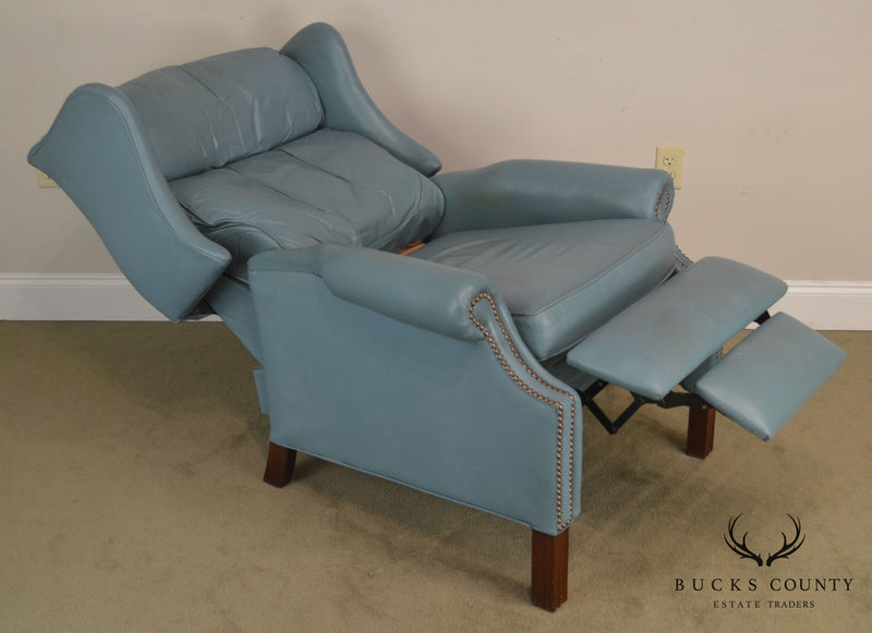 Bradington Young Baby Blue Leather Recliner