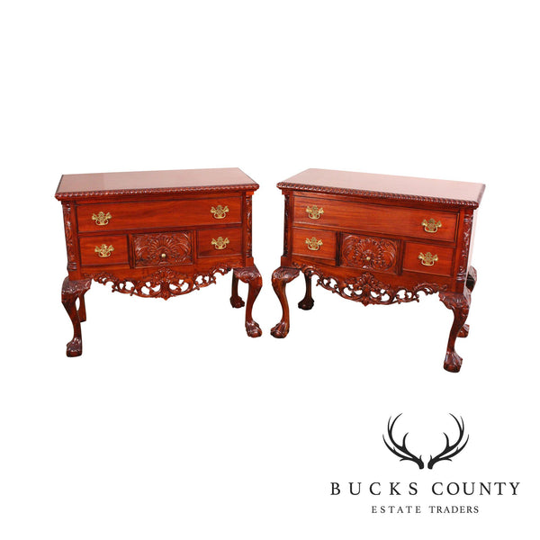 Chippendale Style Pair Carved Mahogany Ball & Claw Foot Lowboys