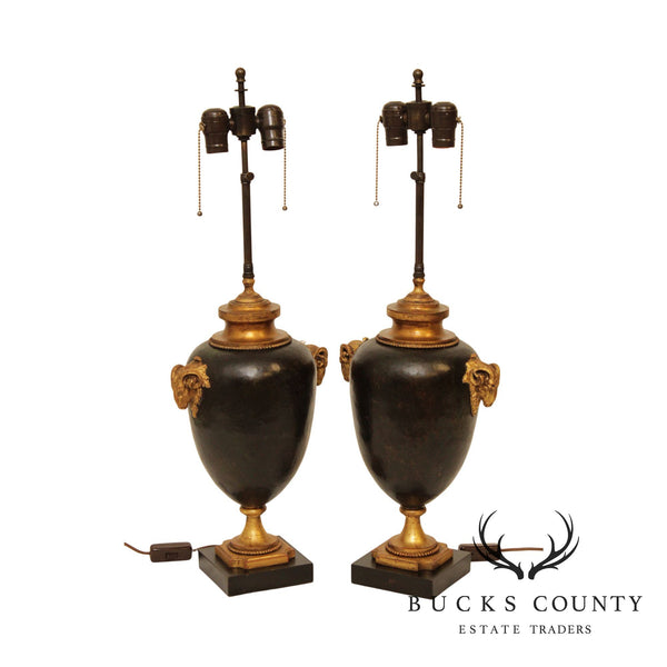 Neo-Classical Style Quality Pair Rams Head Urn Table Lamps