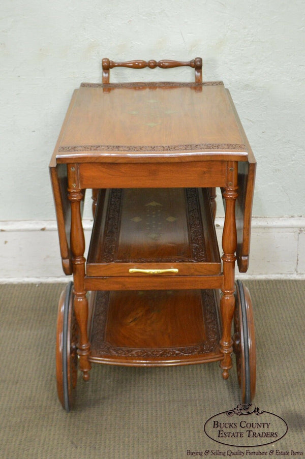 India Teak Wood Brass Marquetry Inlaid Serving Tea Cart