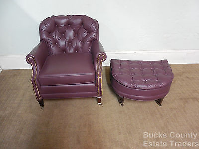 Century Tufted Leather Living Room Lounge Chair w/ Ottoman