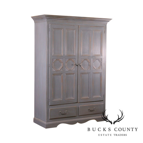 Lexington French Country Style Blue Painted Wardrobe Armoire Cabinet