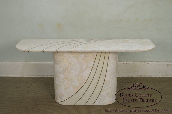 Maitland Smith Tessellated Stone Brass Inlaid Mid-Century Modern Console Table