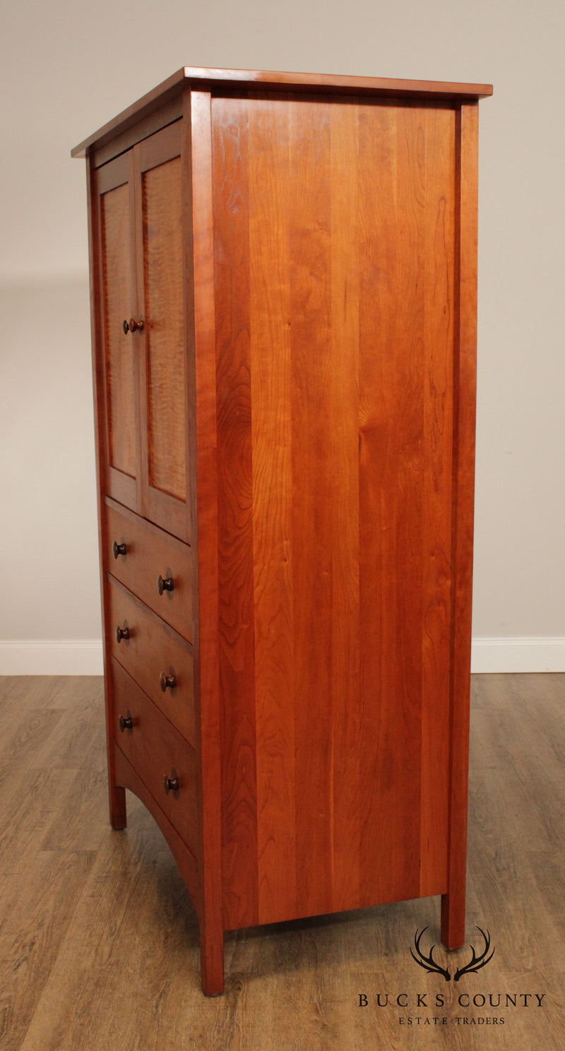 Stickley Mission Collection Cherry & Curley Maple Harvey Ellis Armoire