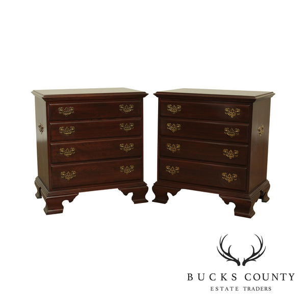 Ethan Allen Georgian Court Pair 4 Drawer Chest Nightstands