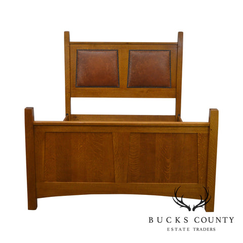 Stickley Mission Collection Oak Queen Size Bed with Brown Leather Panels