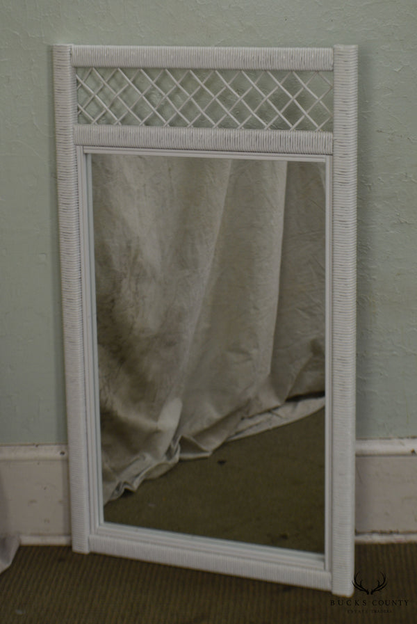 Henry Link White Wicker Vintage Wall Mirror