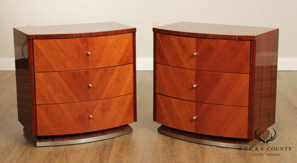 Italian Rosewood Art Deco Style Pair 3 Drawer Chests Nightstands