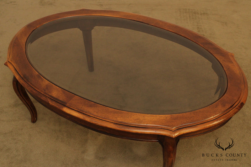 Ethan Allen French Country French Country Oval Glass Top Coffee Table